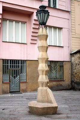 Cubist lamp post in Prague