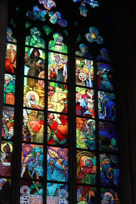 Mucha window in St Vitus Cathedral in Prague