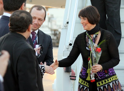 Carolyn Mcall after easyJet's inaugural flight from London to Amman