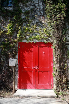 Red door at a winery in the Dry Creek Valley in Sonoma California