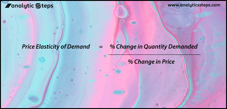 The image contains the PED formula i.e. Price Elasticity of Demand = % Change in Quantity Demanded / % Change in Price.