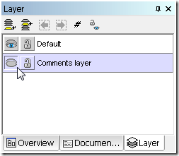 Comments layer hidden from view in the UModel Layer helper window