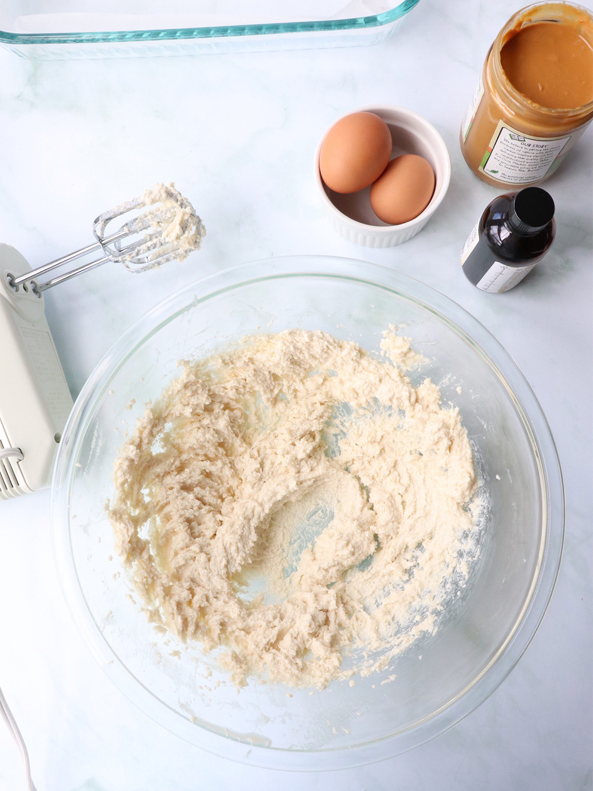 creamed butter and sugar for PB&J Bars recipe
