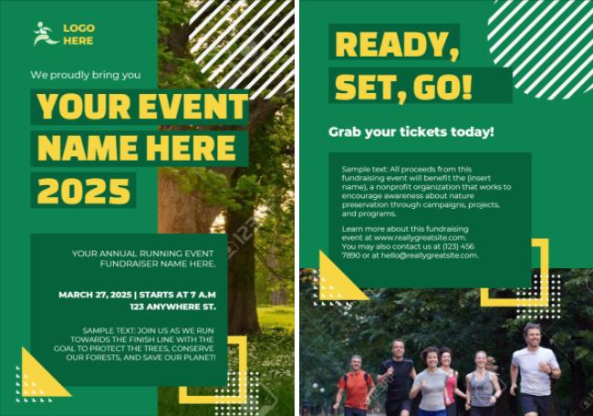 Green marketing template design for running event by Designmaker.