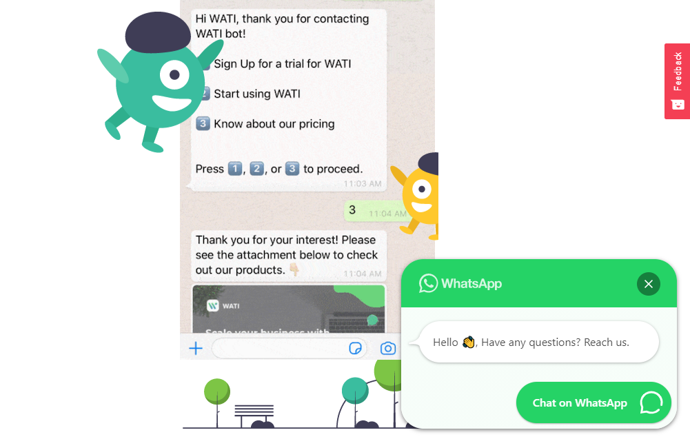 This image tells users that whatsapp as a customer support channel