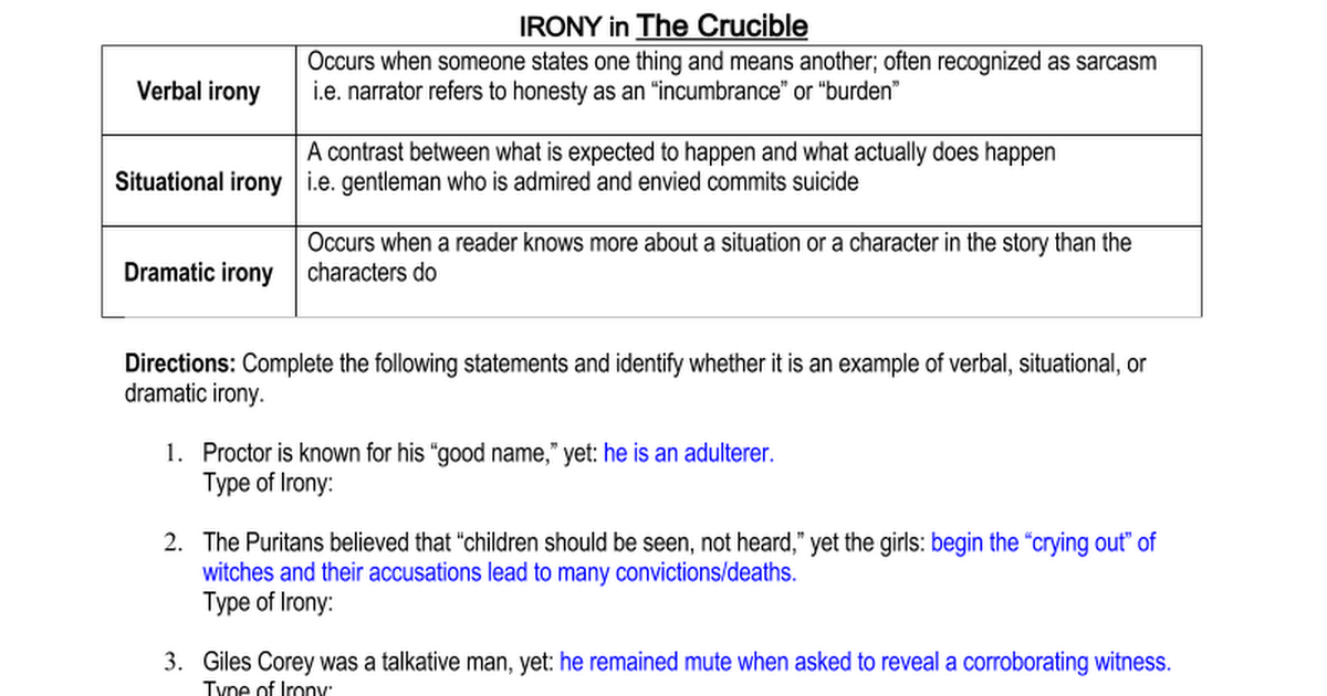 Irony In The Crucible Term Paper Academic Service