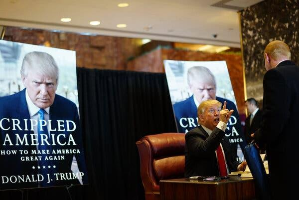 "A book signing for ""Crippled America,"" held in 2015 at Trump Tower in Manhattan."