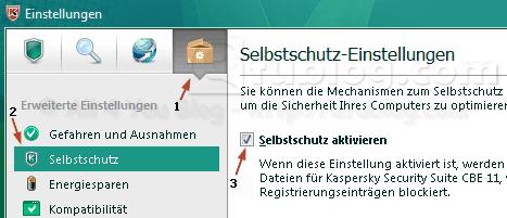 selbstschutz aktivieren Miễn phí bản quyền 1 năm phần mềm Kaspersky Internet Security 2011