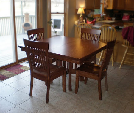 "42"" x 42"" Craftsman Table with Harvest Dining Chairs in Rich Cherry"