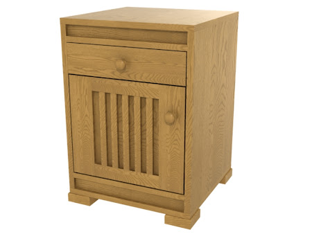 Hillside Nightstand with Door, in Cinnamon Oak