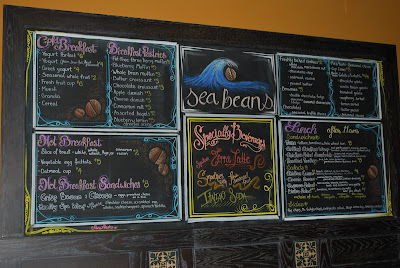 This is a photo of the chalkboard menu inside the Sea Beans Cafe at Terranea Resort.