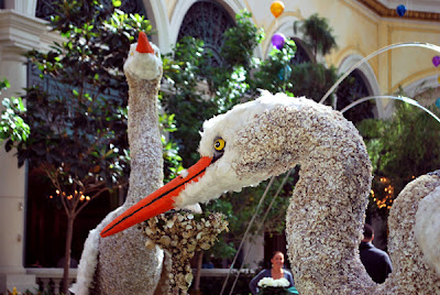 This is a photo of the heron bird sculptures made from moss, seashells and paint inside the Conservatory of the Bellagio Hotel and Casino, Las Vegas, NV.