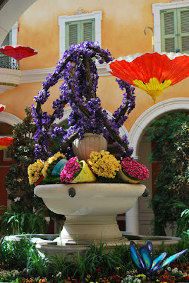This is a photo of the garden scene behind the concierge desk at the Bellagio Hotel and Casino in Las Vegas, NV.