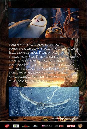 Tył ulotki filmu 'Legendy Sowiego Królestwa: Strażnicy Ga'Hoole'