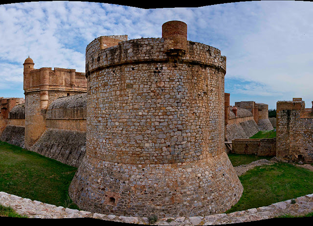 This is a demi-lune fortification from the Fortress of Salses in the far south of France. It is from SquinchPix