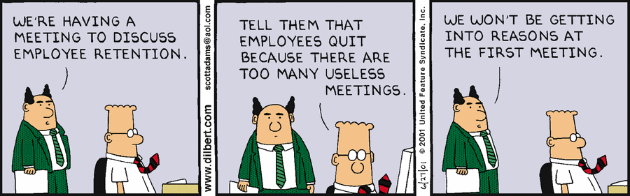 2 men disagreeing about the frequency of meetings