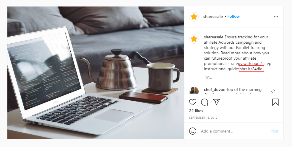affiliate marketing example on Instagram