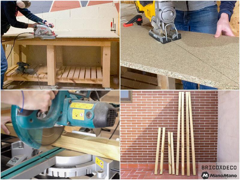 cortar las piezas de una caseta para terraza