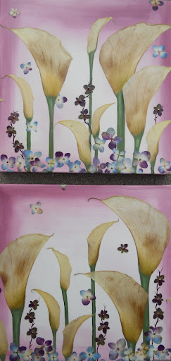 CurlyArt bouquet painting preservation on canvas with calla lilies and hydrangea