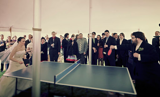 First ping pong match as a married couple JLB wedding photography