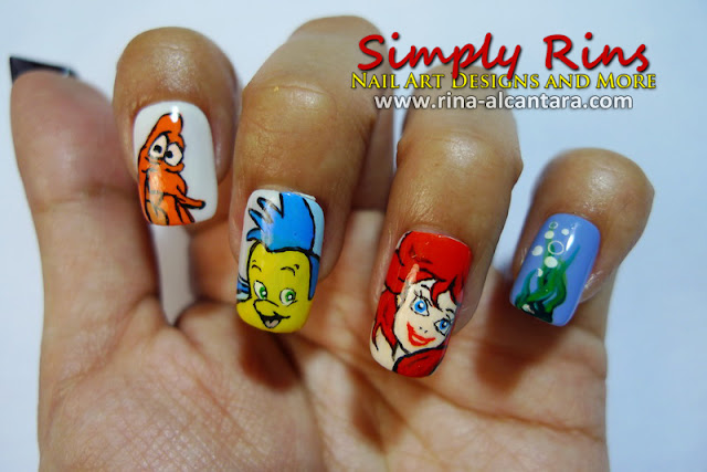 The Little Mermaid nail art design by Simply Rins