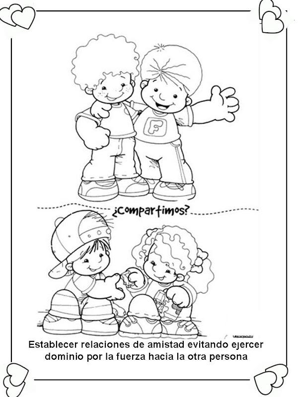 Pinto Dibujos: Derecho a tener amigos para colorear