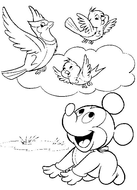 Baby Mickey Mouse - free printables pages | Coloring Pages