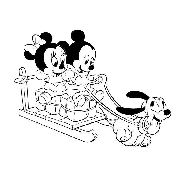 Pinto dibujos mickey y minnie en trineo para colorear - Minnie y mickey bebes para colorear ...