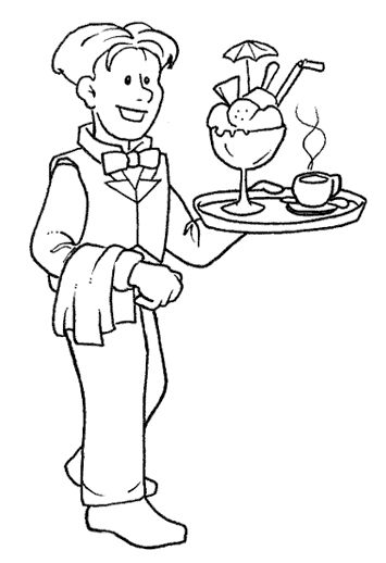 waitress coloring pages - photo#14