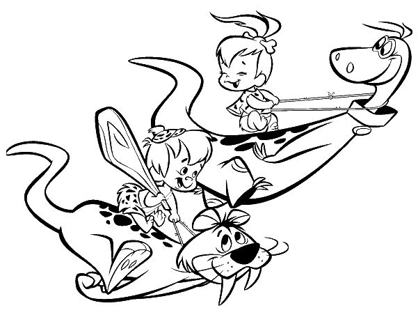Pebbles and bambam coloring pages   Coloring Pages