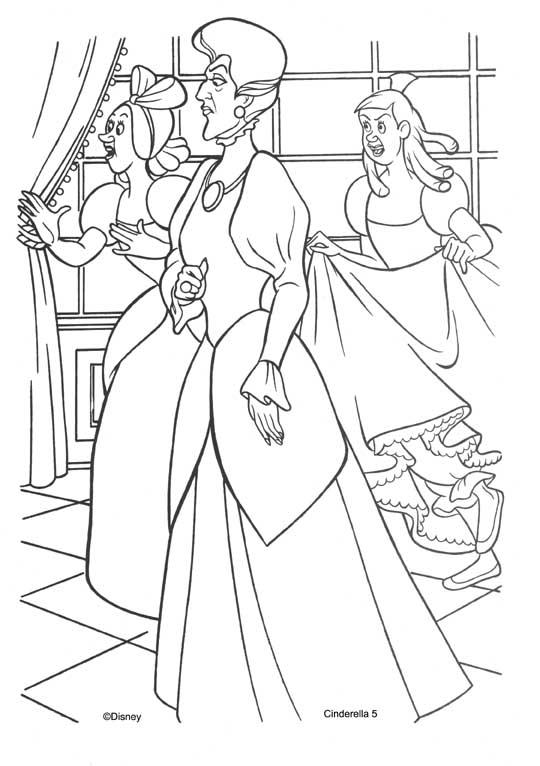 Pinto Dibujos: Madrastra y hermanastras de cenicienta para colorear