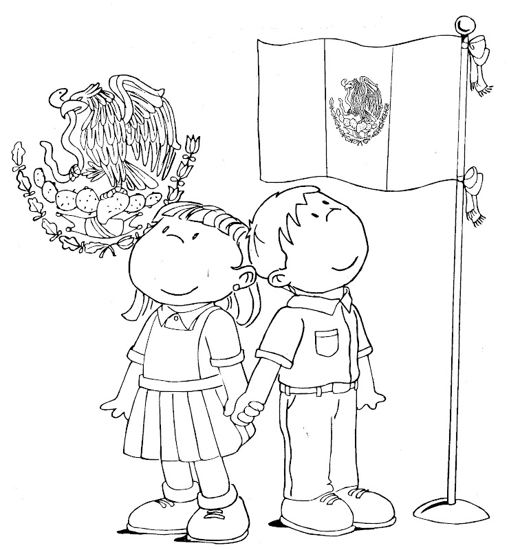 Mexican Flag and Shield - free coloring pages title=