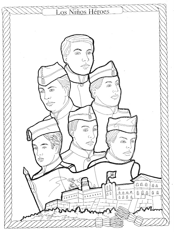 Coloring Pages of Nino Heroes De Chapultepec