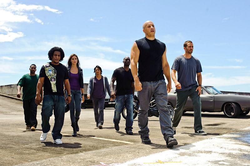 Vin Diesel, Jordana Brewster, Tyrese Gibson, Paul Walker, and Sung Kang in Fast Five