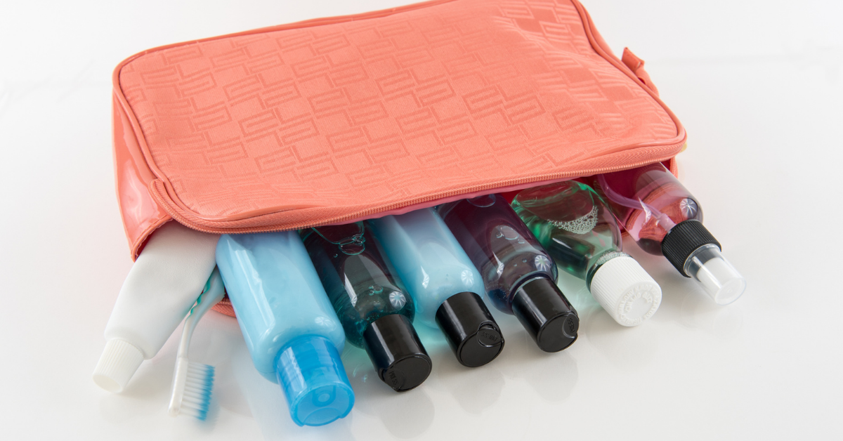 toiletry items in a bag