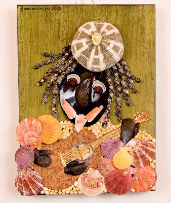 Caribbean summer seashell mosaic