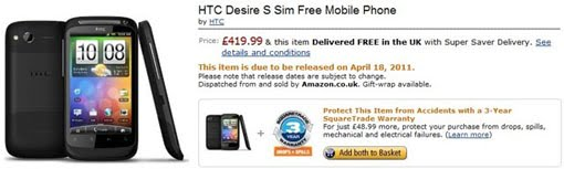 HTC Desire S Now Available For Pre-order Via Amazon UK