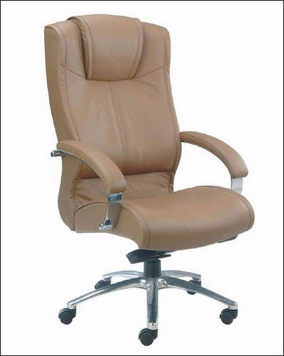 brown ergonomic office chair with arms