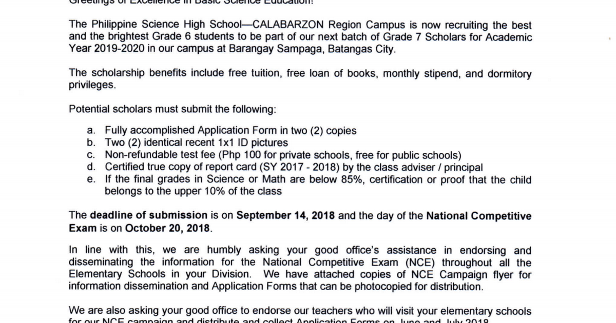 Best Books For Middle Schoolers 2020 Application for Philippine Science High School for SY 2019 2020