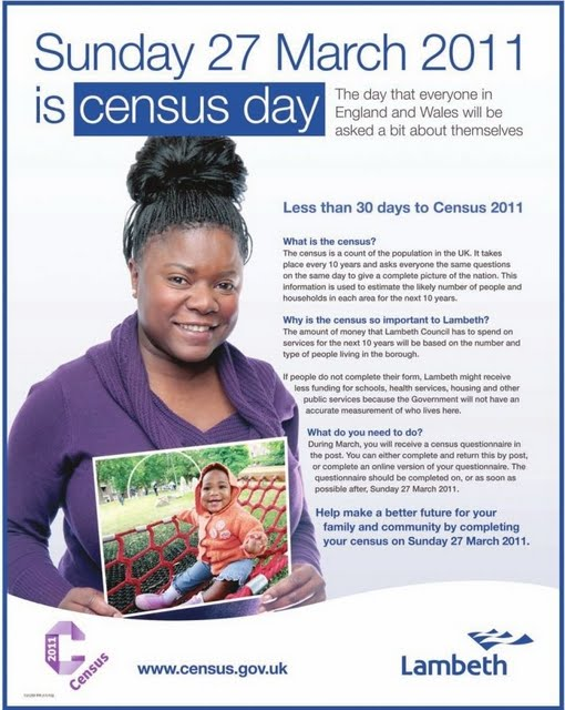 Census advert on Vassall View