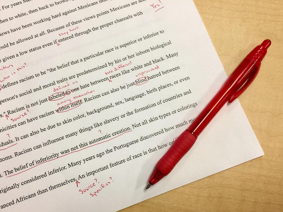ミス, 編集, 学校, 赤インク, 訂正, 初稿, 先生, 赤ペン, マーク, 英語, クラス