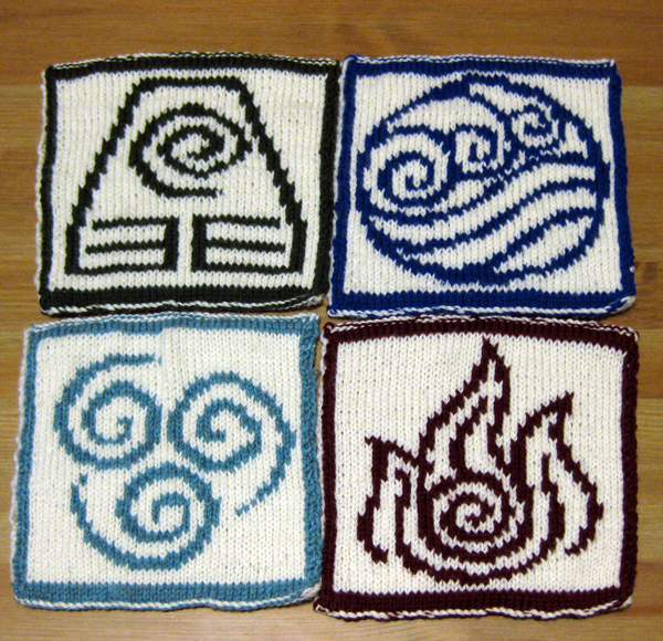 four completed knit hot pads, each with a bending emblem, from the front