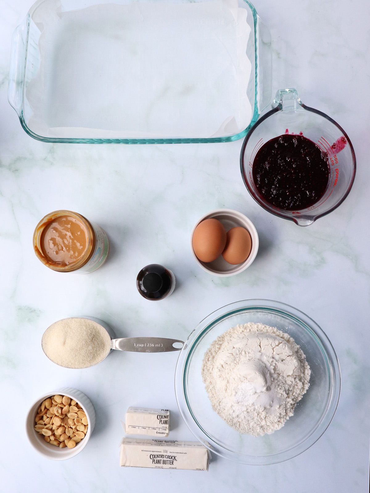 Ingredients for making PB&J Bars