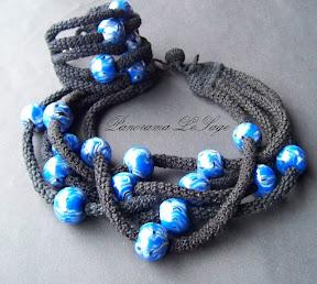naszyjnik szydełkowy biżuteria szydełkowa fimo modelina wisior wykonany ręcznie z masy polimerowej fimo modeliny szydełkowy naszyjnik biżuteria