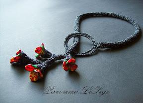 naszyjnik szydełkowy biżuteria szydełkowa fimo modelina wisior