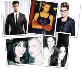 Oxglam Team, clockwise from top left: David Gandy, Agyness Deyn, Henry Holland, Emma and Sara Pierson, Tuuli Shipster and Chantal Brown