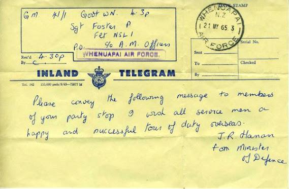 Telegram from Minister of Defence   VietnamWar.govt.nz, New Zealand and the  Vietnam War