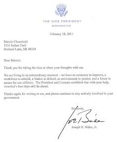Letter from Vice President Biden