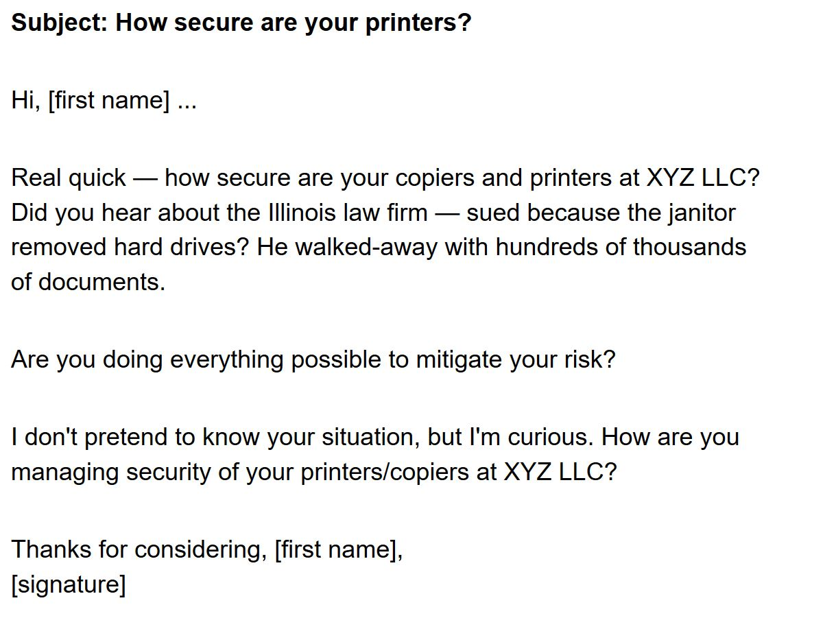 an awesome sales email about... printers?