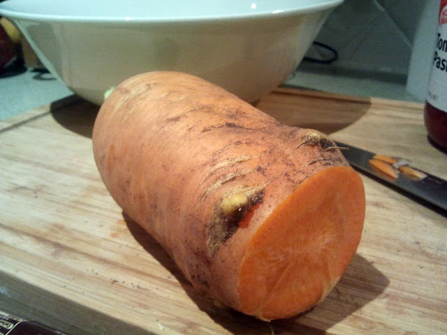 Carrot is being eaten and grown from own garden